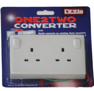 Single to Twin Converter Socket Outlet One Gang to Two Gang Socket